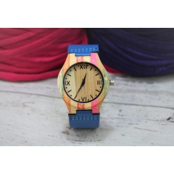 Reloj wood colors correa azul