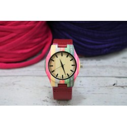 Reloj wood colors correa vino