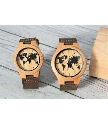 Pack dos relojes mapa mundi pareja