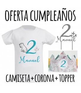 Pack oferta cumpleaños corona + camiseta + topper ballena