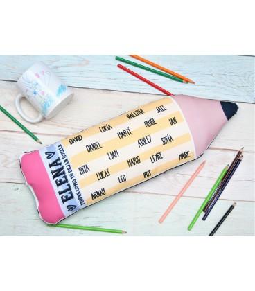 Cojín para docente con forma de lápiz