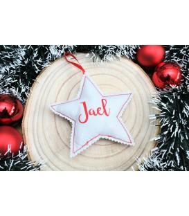 Decoración Navidad tela estrella árbol personalizada