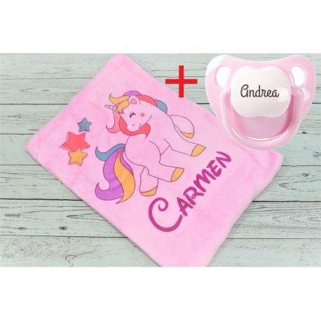 Promoción Manta + Chupete personalizado unicornio
