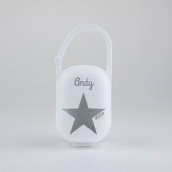Porta chupetes estrella gris